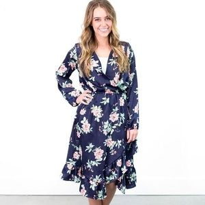 Bree Cross-Front Floral Dress - NEW